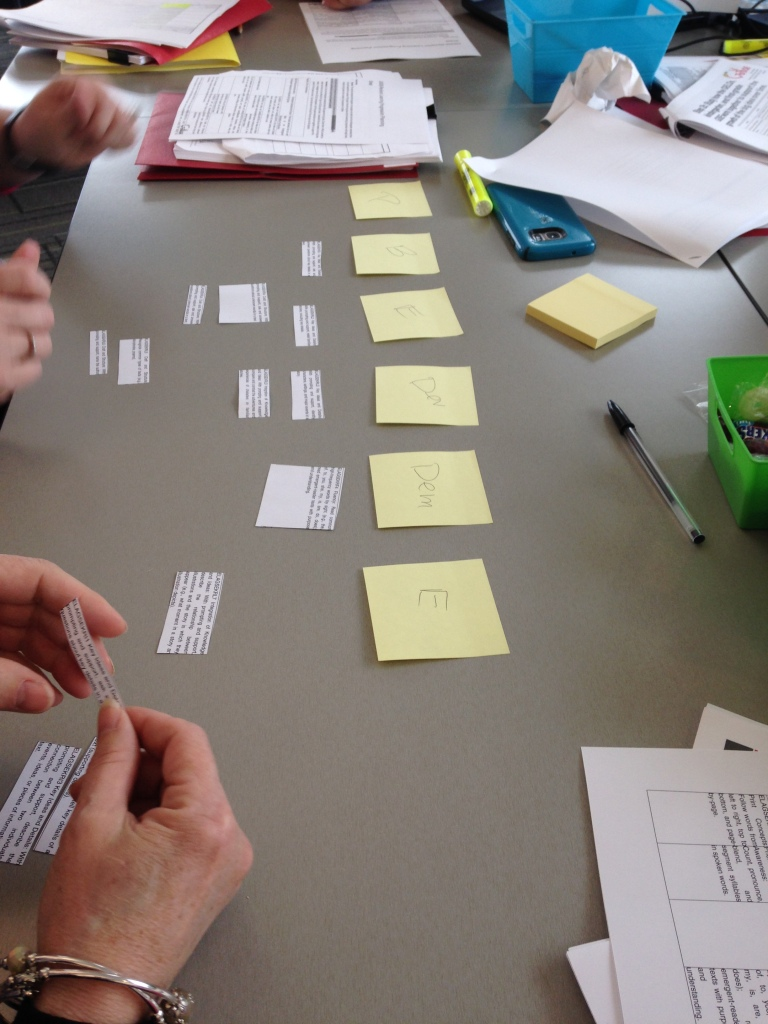 Standard cut out on strips and teachers sequencing them into six stages.